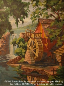 """Old Mill Stream"" Paint By Number canvas designed by Dan Robbins, from the PBN collection of Ann Goodridge"