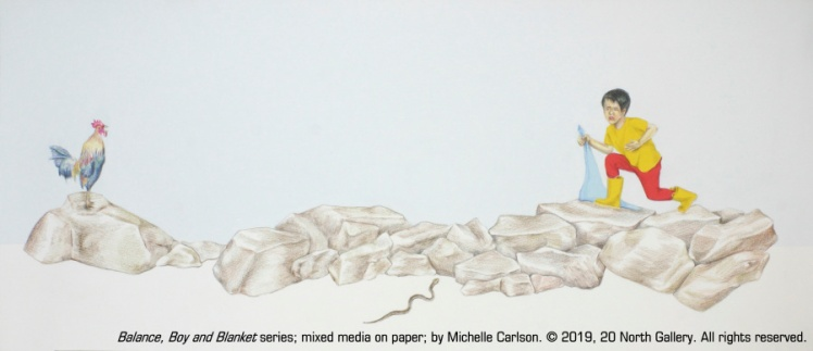 """""""Balance, Boy and Blanket series"""" mixed media on paper by Michelle Carlson"""