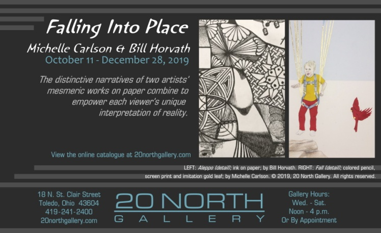 """Falling Into Place: Michelle Carlson & Bill Horvath"" exhibit postcard"
