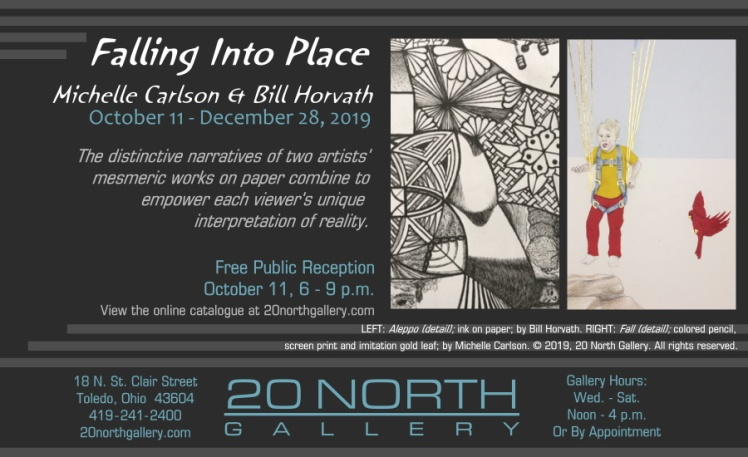 """""""Falling Into Place: Michelle Carlson & Bill Horvath"""" exhibit postcard"""