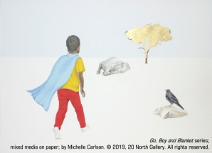 """Go"" from ""Boy and Blanket"" series, mixed media on paper by Michelle Carlson"