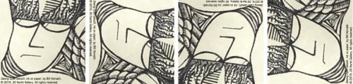 """""""Seeing Eyes"""" detail image, in 360 degrees, ink on paper by Bill Horvath"""
