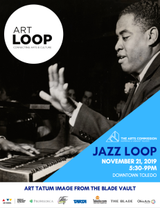 The Arts Commission of Greater Toledo Jazz Loop poster. November 21, 2019, 5:30-9pm. Art Tatum image from The Blade vault.