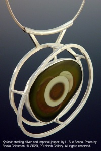 """Splash"" sterling silver and imperial jasper by L. Sue Szabo. Photo by Ericka Crissman."