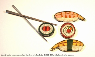 """Sushi Brooches"" cloisonne enamel and fine silver by L. Sue Szabo"