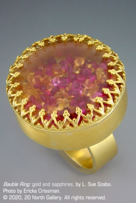 """""""Bauble Ring"""" gold and sapphires by L. Sue Szabo, photo by Ericka Crissman"""