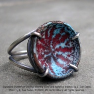 """""""Signature Enamel series,"""" ring, sterling silver and sgraffito enamel, by L. Sue Szabo. Photo by L. Sue Szabo."""